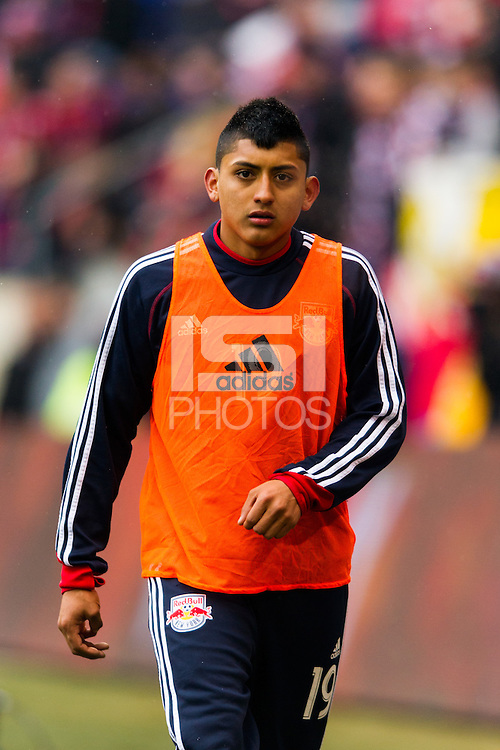 Amando Moreno (19) of the New York Red Bulls. The New York Red Bulls and D. C. United played to a 0-0 tie during a Major League Soccer (MLS) match at Red Bull Arena in Harrison, NJ, on March 16, 2013.