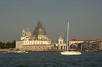 The dome of Santa Maria della Salute enclosed in scaffolding, May 2007. Venice, Italy.