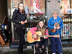 Ciara Brannigan, Grainne Casey and Melissa Hayes performing on Laurence street for the visit of Fleadh Ceol Ard Comhairle to assess Drogheda in its bid to host the Fleadh Ceol 2015. Photo:Colin Bell/pressphotos.ie