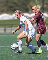 Allston, Massachusetts - September 14, 2014: NCAA soccer match, Colgate University (maroon) defeated Harvard University (white), 1-0, at Harvard Soccer Stadium.
