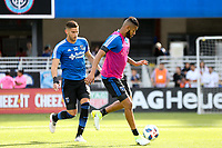 San Jose, CA - Saturday March 31, 2018: Yeferson Quintana, Anibal Godoy prior to a Major League Soccer (MLS) match between the San Jose Earthquakes and New York City FC at Avaya Stadium.