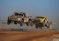Apr 16, 2011; Surprise, AZ USA; LOORRS driver Brian Deegan (38) leads Rob Naughton (54) during round 3 at Speedworld Off Road Park. Mandatory Credit: Mark J. Rebilas-