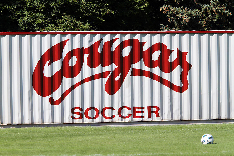 The storage unit at the Lower Soccer Field in Pullman, Washington, lets everyone know that this is the home of the Washington State University Women's Soccer Team.