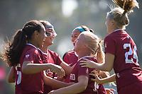 STANFORD, CA - October 21, 2018: Civana Kuhlmann, Abby Greubel, Alana Cook, Sam Hiatt at Laird Q. Cagan Stadium. No. 1 Stanford Cardinal defeated No. 15 Colorado Buffaloes 7-0 on Senior Day.