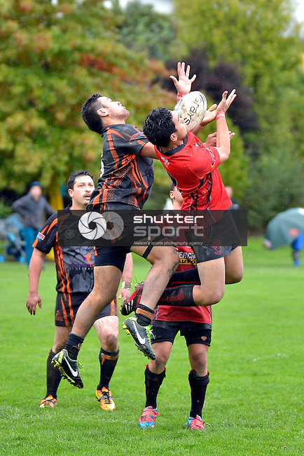 Rugby League, Stoke Cobras v Tahunanuia Tigers, Lower Ngawhatu, 20th April 2013, Nelson, New Zealand, Photo: Barry Whitnall, shuttersport.co.nz