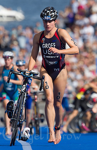24 AUG 2013 - STOCKHOLM, SWE - Sarah Groff (USA) of the USA exits transition for the start of the bike during the men's ITU 2013 World Triathlon Series round in Gamla Stan, Stockholm, Sweden (PHOTO COPYRIGHT © 2013 NIGEL FARROW, ALL RIGHTS RESERVED)