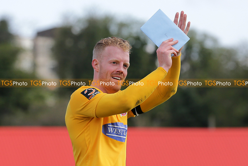 Kenny Clark of Dagenham and Redbridge thanks the fans during Ebbsfleet United vs Dagenham & Redbridge, Vanarama National League Football at The Kuflink Stadium on 13th April 2019