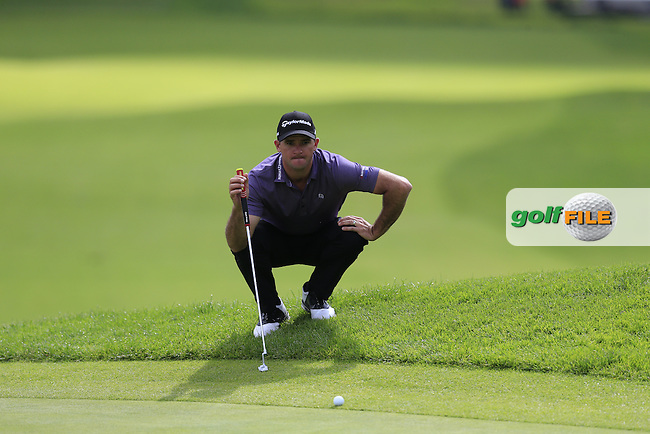 Sam Saunders (USA) at the 9th green during Saturday's rain delayed Round 2 of the 2017 Genesis Open held at The Riviera Country Club, Los Angeles, California, USA. 18th February 2017.<br /> Picture: Eoin Clarke | Golffile<br /> <br /> <br /> All photos usage must carry mandatory copyright credit (&copy; Golffile | Eoin Clarke)