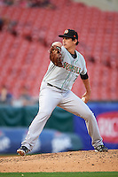 Norfolk Tides relief pitcher Edgar Olmos (26) during a game against the Buffalo Bisons on July 18, 2016 at Coca-Cola Field in Buffalo, New York.  Norfolk defeated Buffalo 11-8.  (Mike Janes/Four Seam Images)