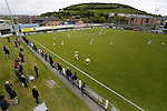 Aberystwyth Town 1 Newtown 2, 17/05/2015. Park Avenue, Europa League Play Off final. Aberystwyth bring the ball out. Aberystwyth finished 14 points above Newtown in the Welsh Premier League, but were beaten 1-2 in the Play Off Final. Photo by Paul Thompson.