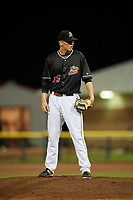 Batavia Muckdogs relief pitcher Chad Martin (35) looks in for the sign during a game against the West Virginia Black Bears on June 18, 2018 at Dwyer Stadium in Batavia, New York.  Batavia defeated West Virginia 9-6.  (Mike Janes/Four Seam Images)