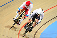 Picture by SWpix.com - 02/03/2018 - Cycling - 2018 UCI Track Cycling World Championships, Day 3 - Omnisport, Apeldoorn, Netherlands - Men's Sprint 1/16 - Denis Dmitriev of Russia and Eric Engler of Germany