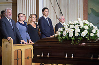 From left, Quebec Premier Philippe Couillard and wife Suzanne Pilote, Governor General Julie Payette,  Prime Minister Justin Trudeau and Lieutenant Governor of Quebec Michel Doyon attend the funeral of Paul Gerin-Lajoie in Montreal, Thursday, August 9, 2018.THE CANADIAN PRESS/Graham Hughes