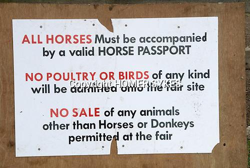 Barnet Gypsy Horse Fair Hertfordshire UK. Horse Passport sign.