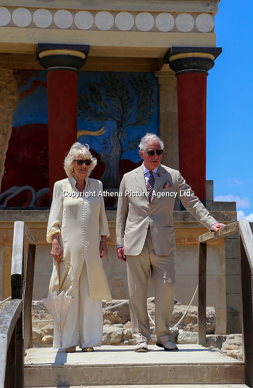 Pictured: Prince Charles and the Duchess of Cornwall at Knossos on the island of Crete, Greece. Friday 11 May 2018 <br /> Re:HRH Prnce Charles and his wife the Duchess of Cornwall visit the ancient site of Knossos near Heraklion, Greece.