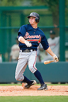 Christopher Lovett #39 of the GCL Braves follows through on his swing versus the GCL Phillies at Disney's Wide World of Sports Complex, July 13, 2009, in Orlando, Florida.  (Photo by Brian Westerholt / Four Seam Images)