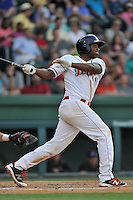 First baseman Josh Ockimey (18) of the Greenville Drive bats in a game against the Augusta GreenJackets on Thursday, June 9, 2016, at Fluor Field at the West End in Greenville, South Carolina. Augusta won, 8-2. (Tom Priddy/Four Seam Images)