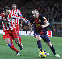 16.12.2012. Barcelona, Spain. La Liga day 16. Picture show Andres Iniesta during game FC Bracelona against Atletico Madrid at Camp Nou