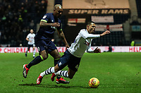 Preston North End's Lukas Nmecha is brought down by  Derby County's Andre Wisdom  <br /> <br /> Photographer Andrew Kearns/CameraSport<br /> <br /> The EFL Sky Bet Championship - Preston North End v Derby County - Friday 1st February 2019 - Deepdale Stadium - Preston<br /> <br /> World Copyright © 2019 CameraSport. All rights reserved. 43 Linden Ave. Countesthorpe. Leicester. England. LE8 5PG - Tel: +44 (0) 116 277 4147 - admin@camerasport.com - www.camerasport.com