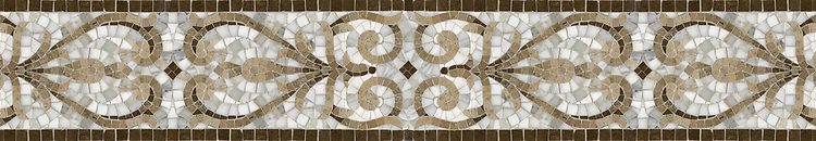 "7"" Alexander border, a hand-cut mosaic shown in polished Calacatta Tia, honed Gascogne Blue, Jura Grey, Jura Beige, and Montevideo by New Ravenna."