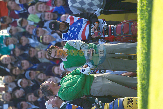 Straffin Co Kildare Ireland. K Club Ruder Cup...European Ryder cup team members Darren Clarke and Lee Westwood on the 1st tee box on the  opening fourball session on the first day of the 2006 Ryder Cup, at the K Club in Straffan, Co Kildare, in the Republic of Ireland, 22 September 2006..Photo: Eoin Clarke/ Newsfile.<br />