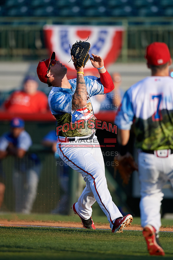 Florida Fire Frogs first baseman Braxton Davidson (24) settles under a pop up during a game against the St. Lucie Mets on April 19, 2018 at Osceola County Stadium in Kissimmee, Florida.  St. Lucie defeated Florida 3-2.  (Mike Janes/Four Seam Images)