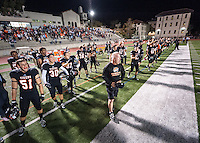 Doug Semones, Head Football Coach. The Occidental College football team plays for a 21-14 win over Claremont-Mudd-Scripps on Homecoming Night at Jack Kemp Stadium on Saturday Oct. 25, 2014.<br /> (Freelance, photo by Kirby Lee)