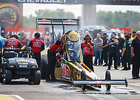 Sep 4, 2017; Clermont, IN, USA; NHRA top fuel driver Leah Pritchett and crew during the US Nationals at Lucas Oil Raceway. Mandatory Credit: Mark J. Rebilas-USA TODAY Sports