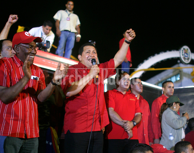 Venezuela's President Hugo Chavez speaks during a rally of   supporters in Caracas. Chavez expelled  U.S. Ambassador in Venezuela Patrick Duddy , in support of his friend, Bolivia's President Evo Morales, who expelled the US Ambassador in Bolivia earlier this week...