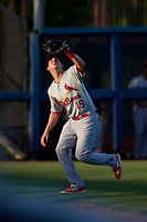 Palm Beach Cardinals left fielder J.B. Woodman (19) settles under a fly ball during a game against the Charlotte Stone Crabs on April 20, 2018 at Charlotte Sports Park in Port Charlotte, Florida.  Charlotte defeated Palm Beach 4-3.  (Mike Janes/Four Seam Images)