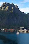 Large mountain over harbour at Svolvaer, Lofoten Islands, Nordland, Norway