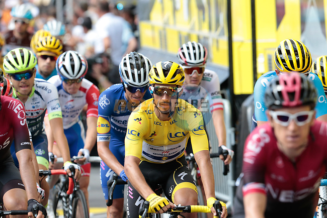 Team Ineos lead the peloton including Yellow Jersey Julian Alaphilippe (FRA) Deceuninck-Quick Step and other GC contenders to the finish line at the end of Stage 12 of the 2019 Tour de France running 209.5km from Toulouse to Bagneres-de-Bigorre, France. 18th July 2019.<br /> Picture: ASO/Colin Flockton | Cyclefile<br /> All photos usage must carry mandatory copyright credit (© Cyclefile | Colin Flockton)