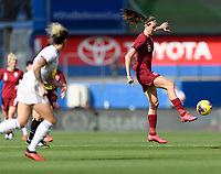 FRISCO, TX - MARCH 11: Jill Scott #8 of England gains control of the ball after a pass during a game between England and Spain at Toyota Stadium on March 11, 2020 in Frisco, Texas.