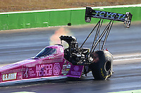 Oct 17, 2015; Ennis, TX, USA; NHRA top fuel driver Antron Brown during qualifying for the Fall Nationals at the Texas Motorplex. Mandatory Credit: Mark J. Rebilas-USA TODAY Sports