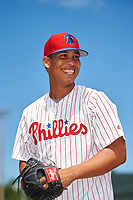 GCL Phillies West pitcher Eduar Segovia (58) poses for a photo before a Gulf Coast League game against the GCL Yankees East on August 3, 2019 at the Carpenter Complex in Clearwater, Florida.  The GCL Yankees East defeated the GCL Phillies West 4-0, the second game of a doubleheader.  (Mike Janes/Four Seam Images)