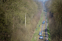 Busy times in the Bois de Wallers-Arenberg sector:<br /> Team Wanty-Groupe Gobert riding through.<br /> <br /> 2015 Paris-Roubaix recon