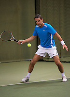 Hilversum, The Netherlands, 05.03.2014. NOVK ,National Indoor Veterans Championships of 2014, Jef Stevens (NED)<br /> Photo:Tennisimages/Henk Koster
