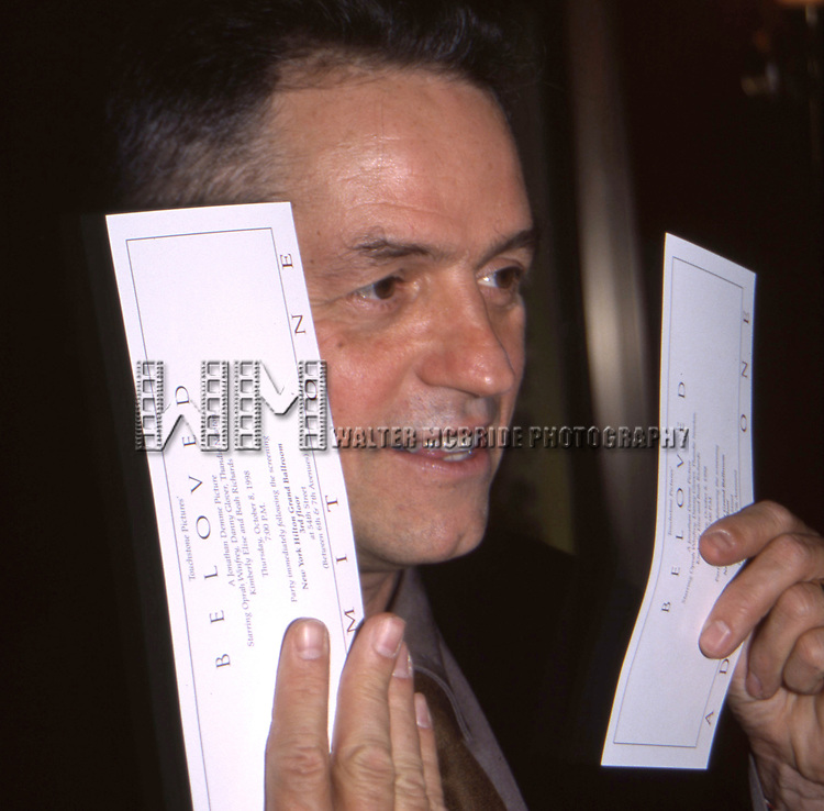 "Jonathan Demme attends the opening of ""Beloved"" at the Ziegfield Theatre on October 8, 1998 in New York City."