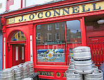 O'Connell traditional pub barrels outside, city of Dublin, Ireland, Irish Republic