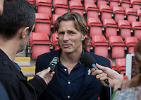 Wycombe Wanderers Manager Gareth Ainsworth during a post match interview during the Sky Bet League 2 match between Leyton Orient and Wycombe Wanderers at the Matchroom Stadium, London, England on 19 September 2015. Photo by Andy Rowland.