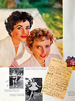 BNPS.co.uk (01202 558833)<br /> Pic: Juliens/BNPS<br /> <br /> Artivle on Taylor with her mother Sarah - and a note she wrote to her aged 7.<br /> <br /> A spectacular collection of over 1,000 items charting Elizabeth Taylor's life including her iconic outfits are up for sale for over £1million. ($1.25million)<br /> <br /> Dozens of designer gowns, fur coats and capes are being auctioned by the trustees of the estate of the late English actress.<br /> <br /> Also going under the hammer are the Hollywood icon's stylish wigs, scarves, shoes and jewellery.<br /> <br /> Items of her lavish furniture from her luxury homes across the world, right down to her personalised salt and pepper shaker, are included.