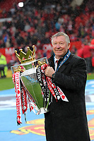 Pictured: Sir Alex Ferguson with the Premier League cup. Sunday 12 May 2013<br /> Re: Barclay's Premier League, Manchester City FC v Swansea City FC at the Old Trafford Stadium, Manchester.