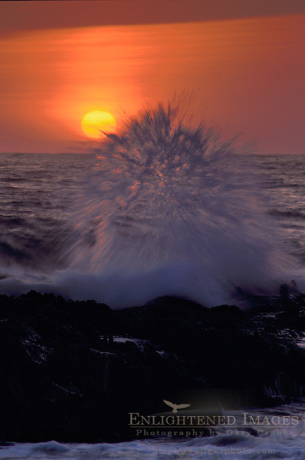 Ocean waves crashing on rocks at sunset, Bean Hollow State Beach, San Mateo Coast, California