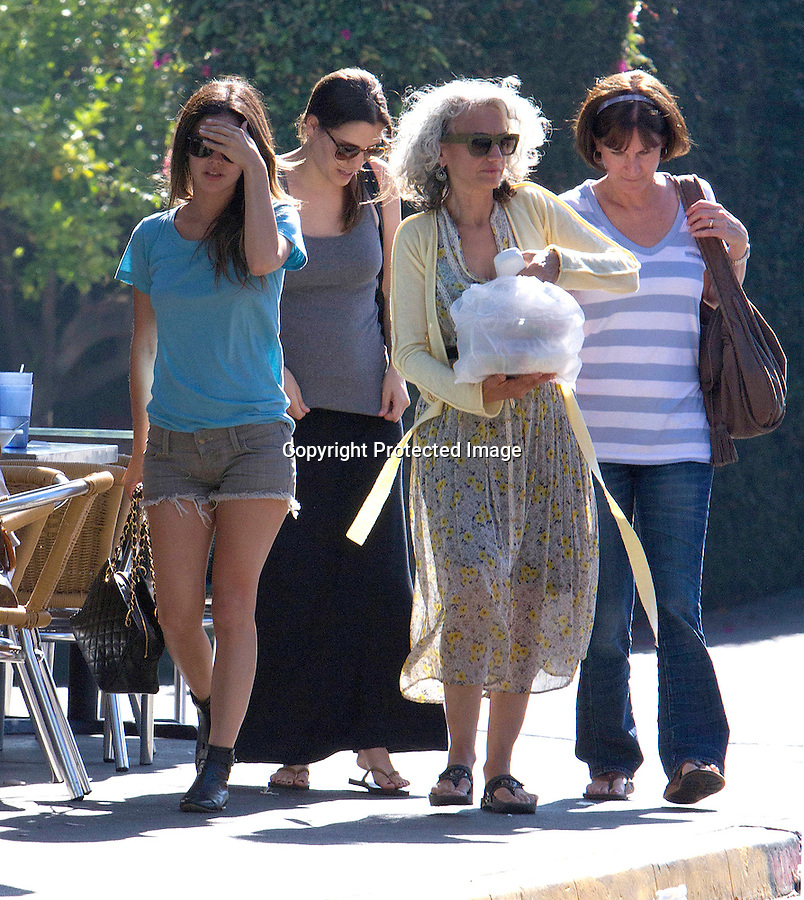 July 23rd 2011  Exclusive Saturday ...Rachel Bilson smiling & laughing out to lunch with friends & family at a restaurant called Mustard Seed in Los Feliz California. Rachel was walking with her mom Janice Bilson & Hayden Christendsen's sister. Rachel was wearing short jean shorts carrying a black purse covering her face that matched her boots with sunglasses & a blue shirt ...AbilityFilms@yahoo.com.805-427-3519.www.AbilityFilms.com...
