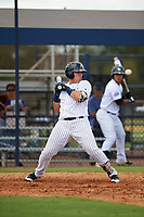 New York Yankees Andres Chaparro (32) watches a high pitch during an Instructional League game against the Baltimore Orioles on September 23, 2017 at the Yankees Minor League Complex in Tampa, Florida.  (Mike Janes/Four Seam Images)