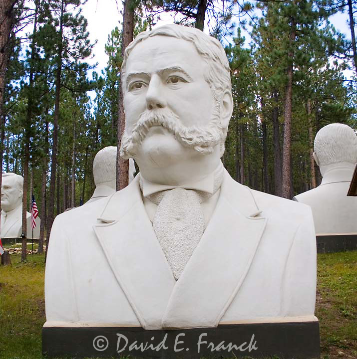 Chester A. Arthur bust by sculptor David Adickes at Presidents Park in Lead South Dakota