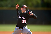 Ball State Cardinals starting pitcher Chayce McDermott (22) during a game against the Saint Joseph's Hawks on March 9, 2019 at North Charlotte Regional Park in Port Charlotte, Florida.  Ball State defeated Saint Joseph's 7-5.  (Mike Janes/Four Seam Images)