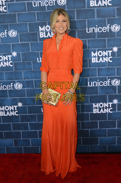 Hofit Golan.Montblanc Hosts Pre-Oscar Charity Brunch Benefiting UNICEF held at Hotel Bel-Air, Los Angeles, California, USA..February 23rd, 2013.full length dress orange gold clutch bag.CAP/ADM/TW.©Tonya Wise/AdMedia/Capital Pictures