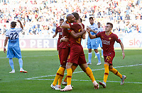 Roma's Federico Fazio, back to camera, celebrates with his teammates after scoring during the Italian Serie A football match between Roma and Lazio at Rome's Olympic stadium, September 29, 2018. Roma won 3-1.<br /> UPDATE IMAGES PRESS/Riccardo De Luca
