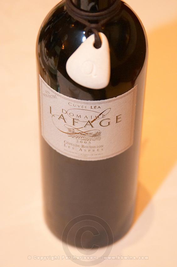 Cuvee Lea. Domaine Lafage. Cotes du Roussillon Les Aspres. Roussillon. France. Europe. Bottle.